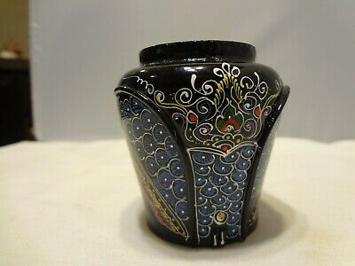 """VINTAGE SMALL GLOSS BLACK  VASE - Hand Made Thailand - 2 3/4"""" H x 2 1/2"""" W"""
