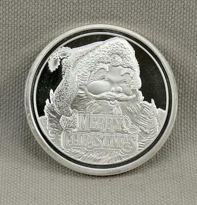2018 Merry Christmas Santa One Troy Ounce .999 Fine Silver Round! Engraveable!
