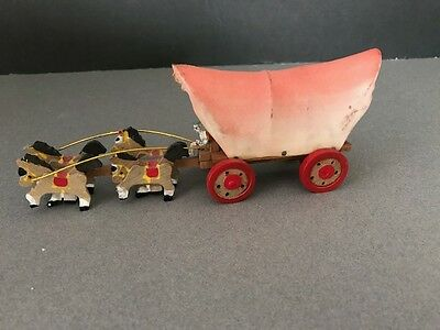 "Vintage ""PRAIRIE COVERED CONESTOGA WESTERN WAGON & HORSES"" WOODEN TOY, JAPAN"