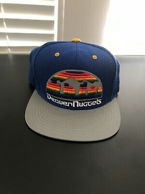 reputable site 8fb6c dada9 Mitchell   Ness Vintage Denver Nuggets Rainbow Big Logo NBA Snapback Hat  silver