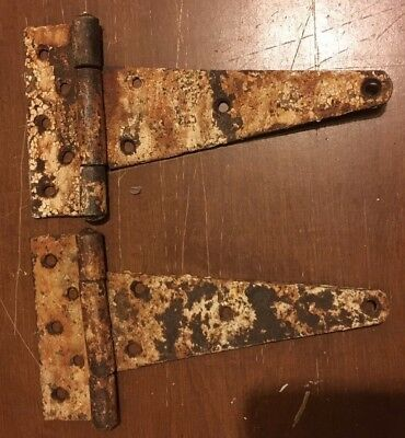 "Pair Vintage Steel Strap Hinges 10"" Barn Gate Door Shed Antique Great Patina"