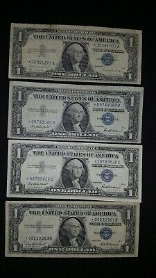 Lot of 4 1957 $1 star notes silver certificate bills replacement notes