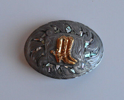 Vintage alpaca & abalone inlay Mexico hand etched Belt Buckle with cowboy boots