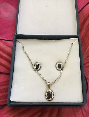 Vintage Antique Silver Onyx Gemstone Necklace Earring Set Estate Find Vtg Boxed