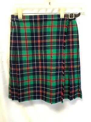 """St Michael Brand Age 11 Girl's Plaid Skirt - side buckle - to fit height 57.5"""""""
