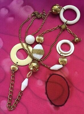 Vintage Antique Gold White Enamel Abstract Beaded Chain Necklace Estate Find Vtg