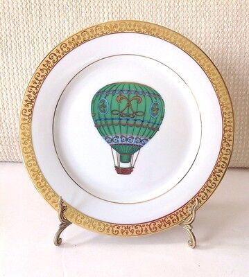VTG.1991 Gold Buffet Royal Gallery Plate - Hot Air Balloon Green,Black, Red NWOT