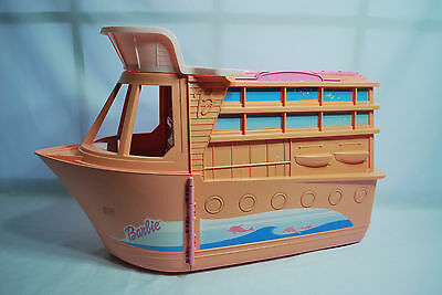 Vintage Barbie Pink Cruise Ship Party Ship Boat Yacht Foldout Playset 1990