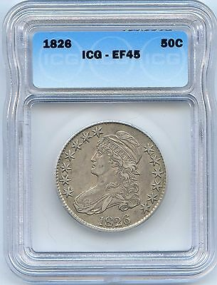 1826 50C Capped Bust Silver Half Dollar. ICG Graded EF 45. Lot #1791