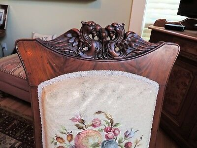 antique GRIFFIN CARVED WALNUT CHAIR w/ NEEDLEPOINT COVER