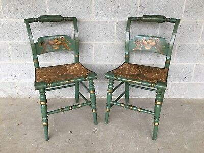L. Hitchcock Pair Of Fruit Decorated Crown Back Rush Bottom Side Chairs