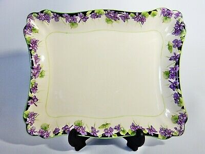 Antique Art Deco 1936 Royal Doulton Violets Serving Display Tray Dish Plate 3439
