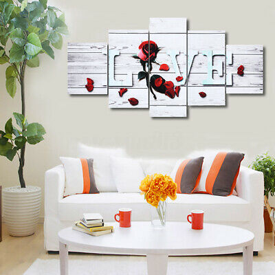 5X Love Canvas Painting Print Home Abstract Wall Art Picture Decoration Unframed