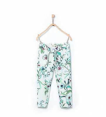 NEW Zara Girls Soft Collection Floral Spring Trousers Slacks Pants Tie Bow Belt