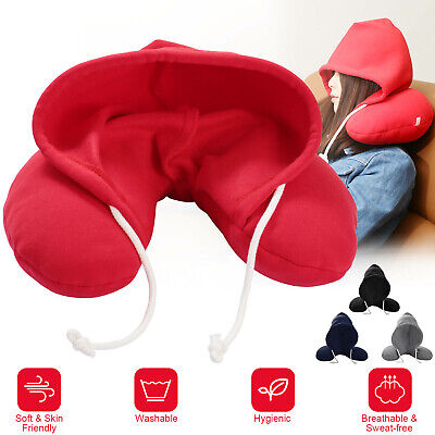 U-Shaped Travel Hooded Pillow Cushion Car Office Airplane Head Rest Neck Support