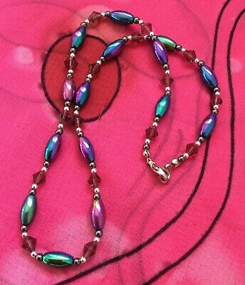 Vintage Antique Rainbow Oil Slick Magnetic Beaded Necklace Estate Find Vtg Boho