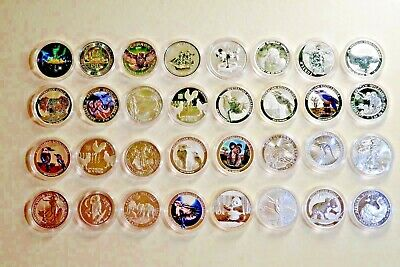 Lot of  77 pcs from Different Countries Coins & Dates 1 Oz .9999 Silver Coin BU
