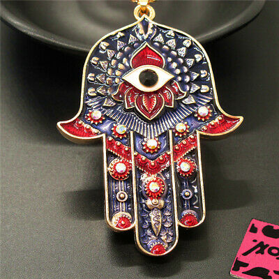 Betsey Johnson Charm Rhinestone Magic Ancient Egypt Eyes Palm Pendant Necklace