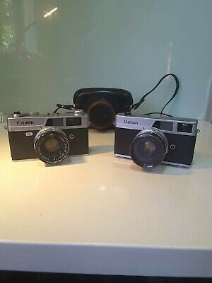 Collectable 2 x Vintage Canon Canonet & QL19 1960's 1970's Cameras 35 mm Japan
