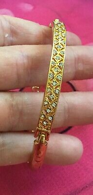 Vintage Antique Gold Pave Crystal Bar Chain Bracelet Estate Find Vtg Wedding