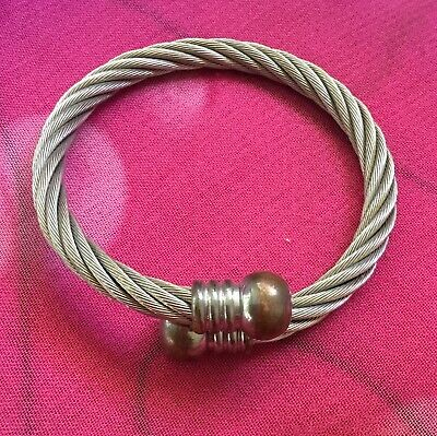 Vintage Antique Silver Heavy Chunky Twist Wire Bangle Bracelet Estate Find Vtg