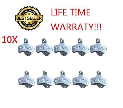 10X Silver BOTTLE OPENER IRON WALL MOUNT BEER COKE SODA BOTTLE OPENERS NEW