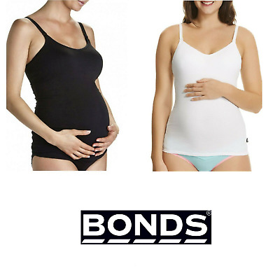 BONDS MATERNITY SUPPORT SINGLET White Black Pregnancy Bumps 12B-18DD RRP $44.95