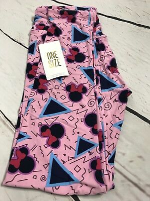 c30842526a0492 NWT LuLaRoe DISNEY Pink Blue Minnie Mouse Shapes OS One Size Leggings RARE