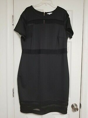 9dc4eba66930 Boutique JCPenney 1X Black Dress Knee Length Short Sleeve New with Tags Mesh