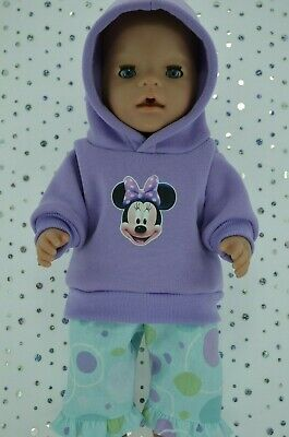 """Play n Wear Doll Clothes To Fit 17"""" Baby Born LILAC HOODIE~SPOT PATTERN PANTS"""