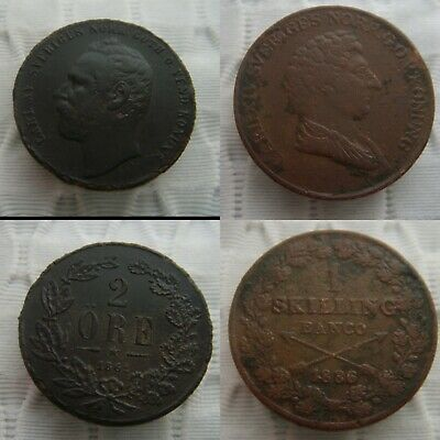 Low Outbid 1$!! 2Pcs Rare Old Swedish King Karl Xv And Xiv Coins. God Ex