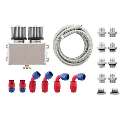 1.2L Dual Baffled Twin Filter 4 Port 8AN Motor Oil Catch Can /& Hose Kit Silver