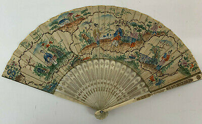Antique folding Chinese Carved Peirced Fan Hand Painted 18th Century Chinoisere