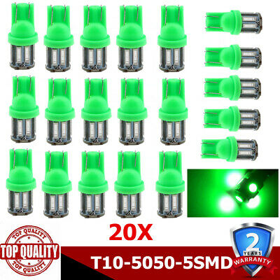 20Pcs T10 Car 5 LED 194 168 W5W Light Canbus Green 5050 SMD Wedge Bulb Tail Lamp