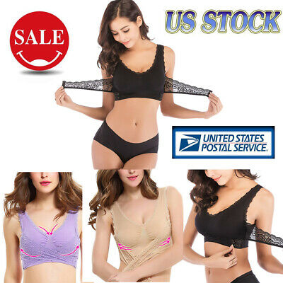 Womens Sport Bra Sexy Front Cross Side Buckle Wireless Lace Breathable Underwear