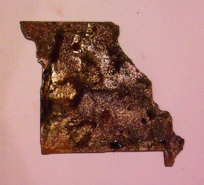 6 Inch Missouri State Shape Rough Rusty Metal Vintage Stencil Ornament Craft