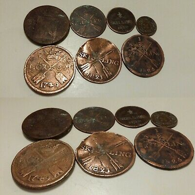 Low Outbid 1$!! 7Pcs Rare Old Swedish And Danish Coins
