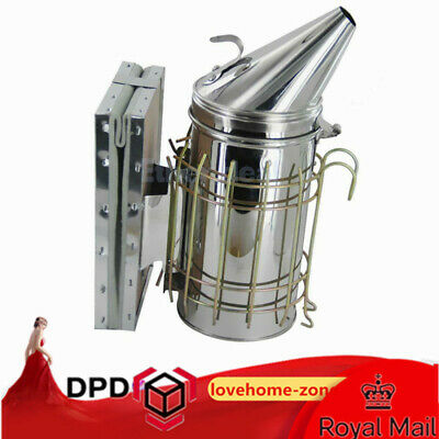 Large stainless steel smoker Bee hive tool Beekeeping Equipment Smoke Hooked UK