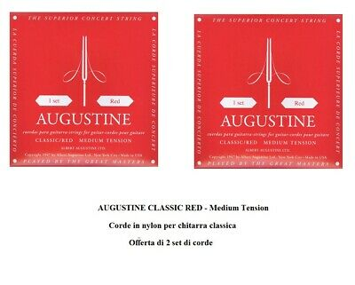 Augustine Red Medium Tension 2 Set Mute Corde Nylon Per Chitarra Classica