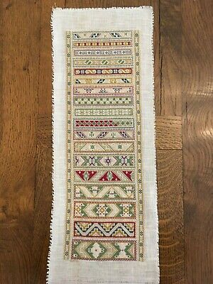 Completed Cross Stitch  Sampler  - Adapted from a Danish Design