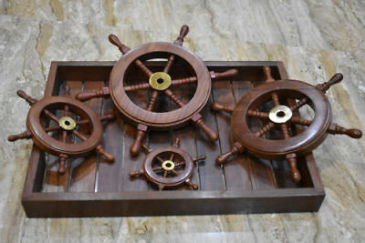 Set Of 4 Brass Ship Wheel Wooden Boat Steering Nautical Maritime Decor With Tray