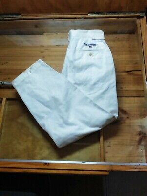"""VINTAGE POLO SPORT by RALPH LAUREN Trousers White 30"""" waist 38"""" Length"""