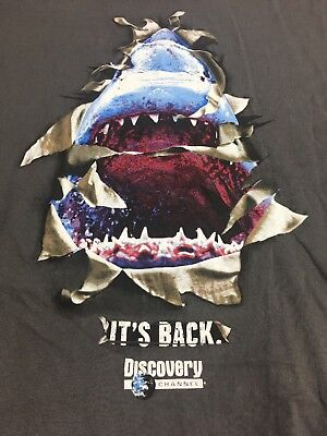 SHARK WEEK Discovery Channel VTG T Shirt Tee XL Annual Great White Logo TV Event