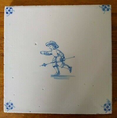 DELFT TILES circa 19th century  Man with spear