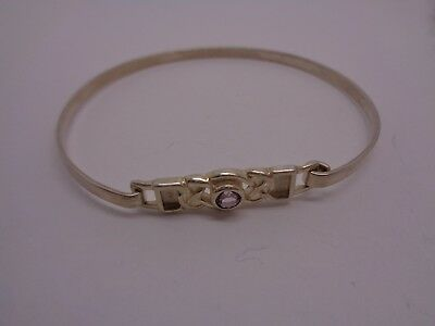 Sterling Silver Bracelet Bangles  Celtic Knott Design Single Purple  Stone