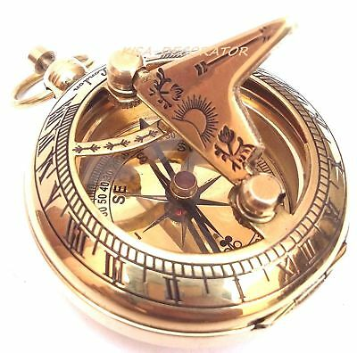 Lot of 10 Solid Brass Sundial Compas Pocket Compass Nautical Decor Maritime Gift