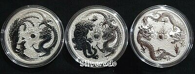2017/2018/2019 Dragon Phoenix Tiger Double Dragon silver bullion SET OF 3 COINS