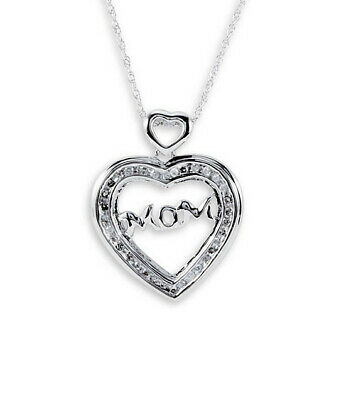 """0.15 Ct Round Real Diamond 14k White Gold Over Heart """"MOM"""" Pendant Chain Mom Day"""