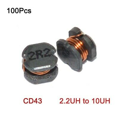 100Pcs SMD/SMT Chip Power Inductor CD43 Winding Coil Inductance 2.2UH to 10UH