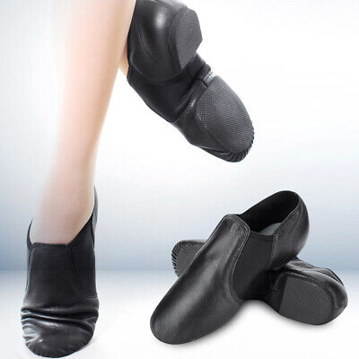 1 Pair Child & Adult Men Women Leather Slip On Jazz Dance Shoes Exercise Black